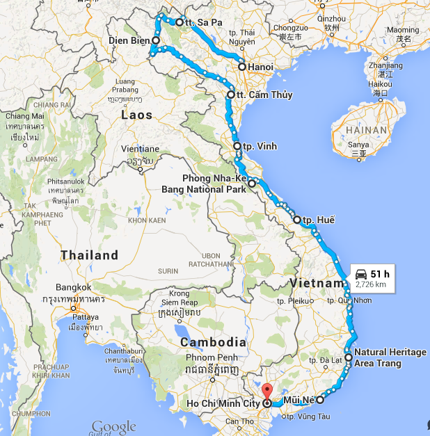 map of Vietnam cycling