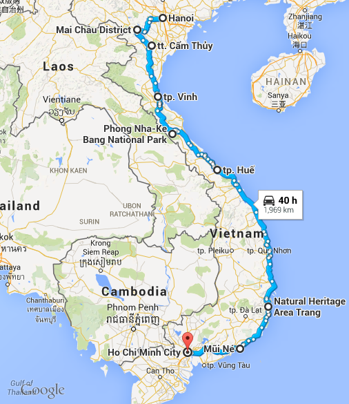 map - Cycling through Vietnam
